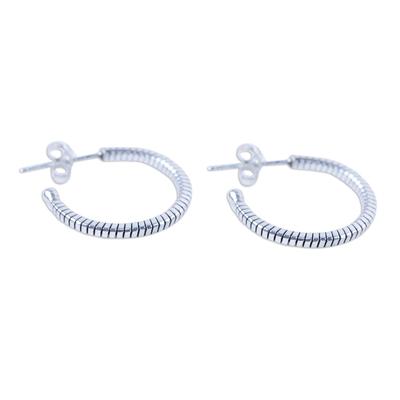 Handcrafted Sterling Silver Half Hoop Earrings from Thailand