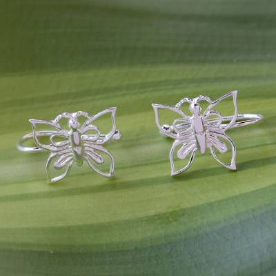 Sterling silver ear cuffs, 'Demure Butterflies' - 925 Silver Butterfly Ear Cuffs Artisan Crafted in Thailand