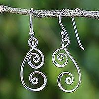 Sterling silver dangle earrings, 'Lanna Spirals' - 925 Sterling Silver Artisan Crafted Thai Art Dangle Earrings