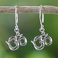 Sterling silver dangle earrings, 'Om Shine' - Hindu Om Symbol 925 Sterling Silver Earrings from Thailand