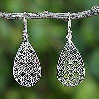 Sterling silver dangle earrings, 'Frangipani Drops' - Sterling Silver Drop-Shaped Dangle Earrings from Thailand