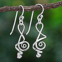 Sterling silver dangle earrings, 'Melody in Me' - Clef Note Sterling Silver Music-themed Handmade Earrings