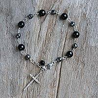 Onyx beaded bracelet, 'Etched Cross' - Onyx Hematite and 950 Silver Cross Bracelet from Thailand