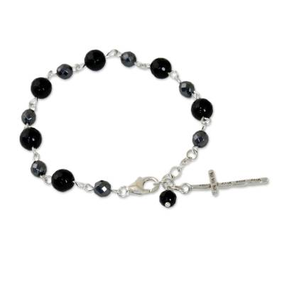 Onyx Hematite and 950 Silver Cross Bracelet from Thailand