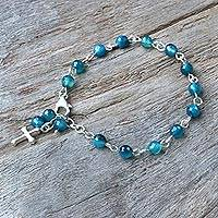 Dyed blue agate beaded bracelet, 'Watery Cross' - Blue Agate and Sterling Silver Cross Bracelet from Thailand