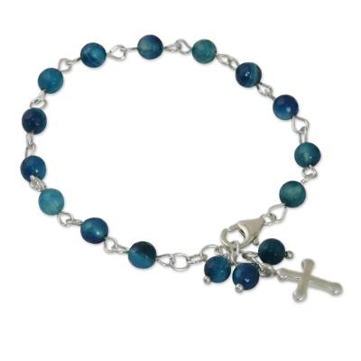 Blue Agate and Sterling Silver Cross Bracelet from Thailand