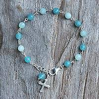 Quartz and amazonite link bracelet, 'Flying Cross' - Amazonite and Quartz Cross Bracelet from Thailand