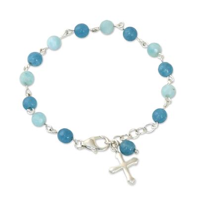Amazonite and Quartz Cross Bracelet from Thailand
