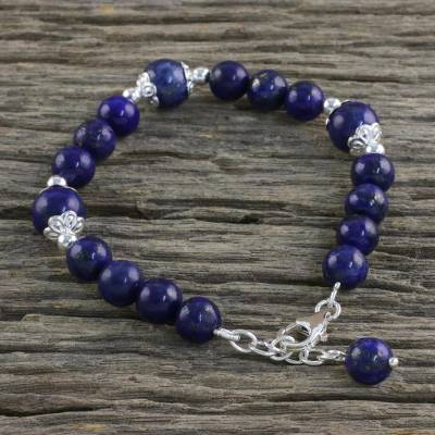 Lapis lazuli beaded bracelet, 'Floral Deep' - Thai Lapis Lazuli and Sterling Silver Beaded Bracelet