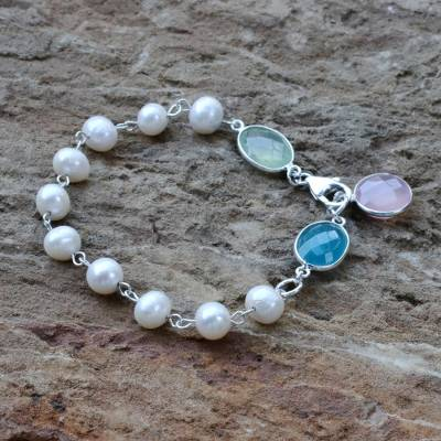 Cultured pearl and chalcedony link bracelet, Glowing Pastels