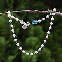 Cultured pearl and chalcedony strand necklace, 'Glowing Pastels' - Cultured Pearl and Chalcedony Link Necklace from Thailand