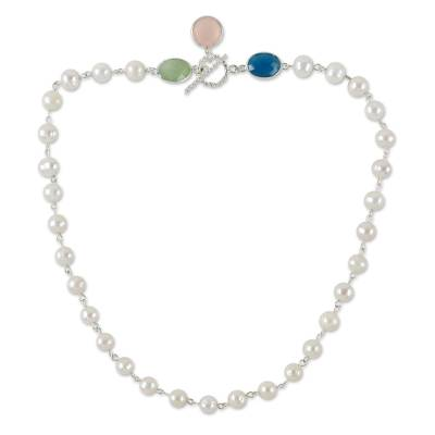 Cultured Pearl and Chalcedony Link Necklace from Thailand