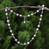 Cultured pearl link necklace, 'Glowing Clusters' - Cultured Pearl and 950 Silver Link Necklace from Thailand