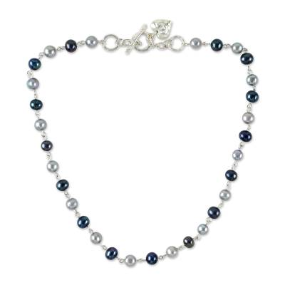 Cultured Pearl and 950 Silver Link Necklace from Thailand