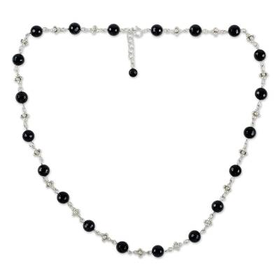 Onyx and 950 Karen Silver Link Necklace from Thailand