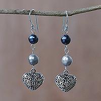 Cultured pearl dangle earrings, 'Swirling Hearts' - Thai Cultured Pearl and Sterling Silver Heart Earrings