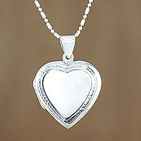 Sterling silver locket necklace, 'Enduring Romance' - Handcrafted Sterling Silver Heart Locket Necklace