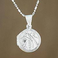 Sterling silver locket necklace, 'Always Love Me' (Thailand)