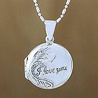 Sterling silver locket necklace, 'Words of Love' - Handcrafted Sterling Silver Locket Necklace from Thailand