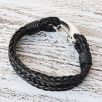 Leather wristband bracelet, 'Braided Duo' - Two-Strand Leather Wristband Bracelet from Thailand