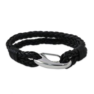 Two-Strand Leather Wristband Bracelet from Thailand