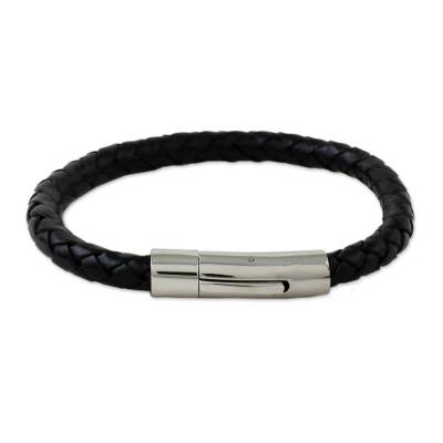 Black Braided Leather Wristband Bracelet from Thailand