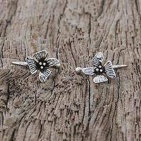 Sterling silver ear cuffs, 'Petite Orchids' - Sterling Silver Orchid Flower Ear Cuffs from Thailand