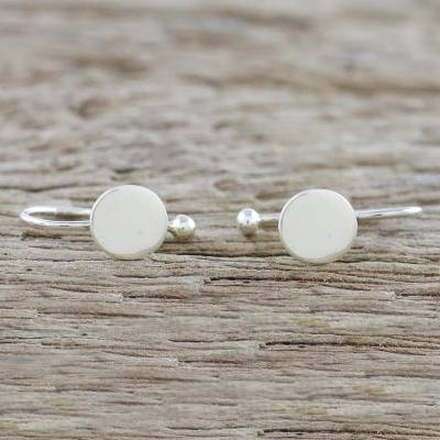 Sterling silver ear cuffs, 'Circle Shimmer' - 925 Sterling Silver Circular Ear Cuffs from Thailand