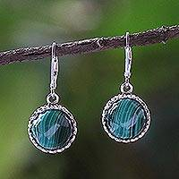 Malachite dangle earrings, 'Pointed Petals' - Sterling Silver and Malachite Dangle Earrings from Thailand