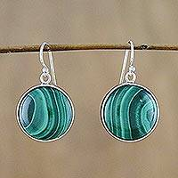 Malachite dangle earrings, 'Spirit Moon' - Rhodium Plated Malachite Dangle Earrings from Thailand