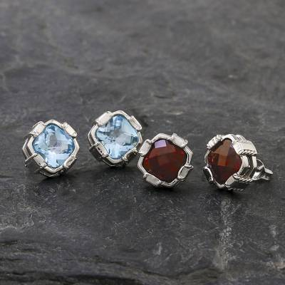 Garnet button earrings, 'Everyday Glitz' - Rhodium Plated Garnet Button Earrings from Thailand