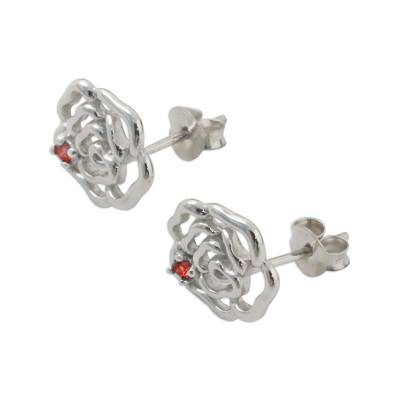 Handcrafted Rhodium on Sterling Silver Garnet Stud Earrings