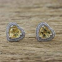 Citrine stud earrings, 'Sparkling Hearts' - Citrine and Cubic Zirconia Heart Stud Earrings from Thailand