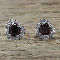 Garnet stud earrings, 'Sparkling Hearts' - Garnet and Cubic Zirconia Heart Stud Earrings from Thailand