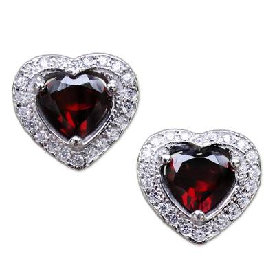 Garnet and Cubic Zirconia Heart Stud Earrings from Thailand
