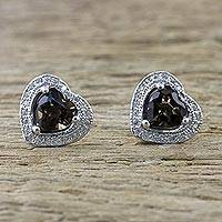 Smoky quartz stud earrings, 'Sparkling Hearts' - Smoky Quartz and Cubic Zirconia Heart Shaped Stud Earrings