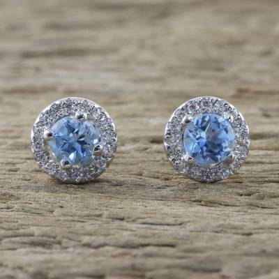 Blue topaz stud earrings, 'Glamour and Grace' - Blue Topaz and Cubic Zirconia Stud Earrings from Thailand