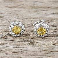 Citrine stud earrings, 'Glamour and Grace' - Citrine and Cubic Zirconia Stud Earrings from Thailand