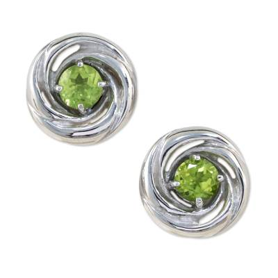 Rhodium Plated Sterling Silver and Peridot Thai Earrings