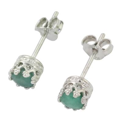 Rhodium Plated Emerald Stud Earrings from Thailand
