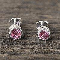 Tourmaline stud earrings, 'Brilliant Splendor' - Rhodium Plated Pink Tourmaline Stud Earrings from Thailand