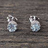 Blue topaz stud earrings, 'Brilliant Splendor' - Rhodium Plated Blue Topaz Stud Earrings from Thailand