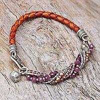 Leather and glass bead wristband bracelet, 'Loving Hug in Plum' - Thai Karen Silver Glass and Leather Wristband Bracelet