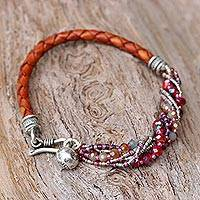 Leather and glass bead wristband bracelet,