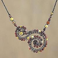 Tiger's eye and jasper pendant necklace, 'Dainty Curls' - Tiger's Eye and Jasper Spiral Pendant Necklace from Thailand