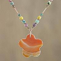 Carnelian pendant necklace, 'Celestial Blossom' - Carnelian Multi-Gem Pendant Necklace from Thailand