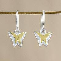Gold accent sterling silver dangle earrings, 'Shining Butterflies' (Thailand)