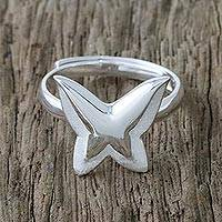 Sterling silver mid-finger ring, 'Shining Butterfly' - Sterling Silver Butterfly Mid-Finger Ring from Thailand