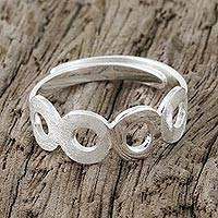Sterling silver wrap ring, 'Circular Shimmer' - Circle Motif Sterling Silver Wrap Ring from Thailand
