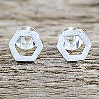 Sterling silver drop earrings, 'Honeycomb Shine' - Sterling Silver Honeycomb Drop Earrings from Thailand